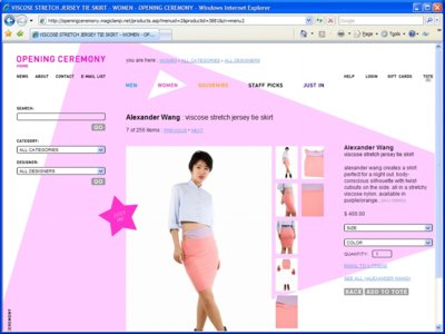 eCommerce Web Design - Opening Ceremony